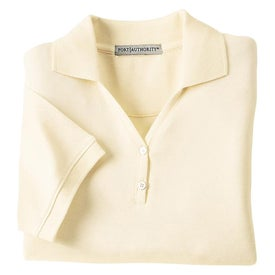 Logo Port Authority Ladies 100% Pima Cotton Sport Shirt