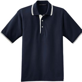 Imprinted Port Authority Silk Touch Sport Shirt with Stripe Trim