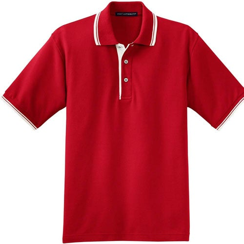Port authority silk touch sport shirt with stripe trim for Quality polo shirts with company logo