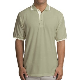 Port Authority Silk Touch Sport Shirt with Stripe Trim with Your Slogan
