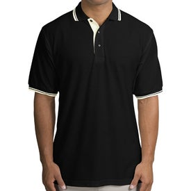 Port Authority Silk Touch Sport Shirt with Stripe Trim Branded with Your Logo