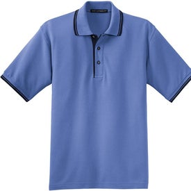 Port Authority Silk Touch Sport Shirt with Stripe Trim Imprinted with Your Logo