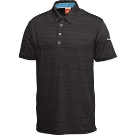 Monogrammed Puma Barcode Stripe Short Sleeve Polo Shirt by TRIMARK
