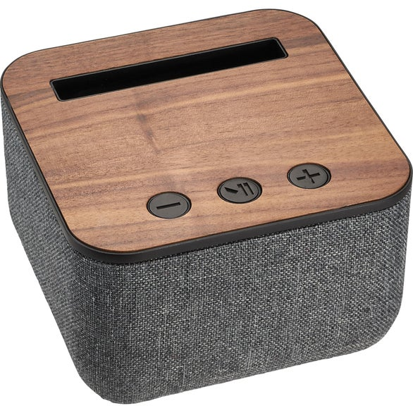 Gray / Wood Shae Fabric and Wood Bluetooth Speaker