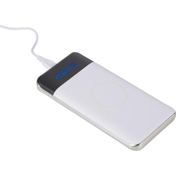 White Constant 10000 mAh Wireless Power Bank w/Display