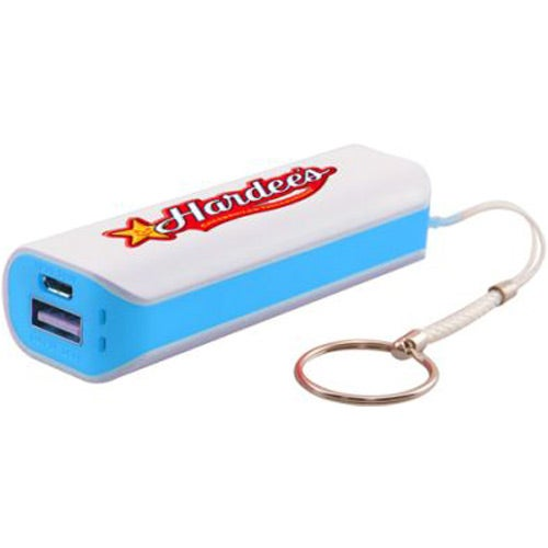 White / Blue Power Bank with Keychain