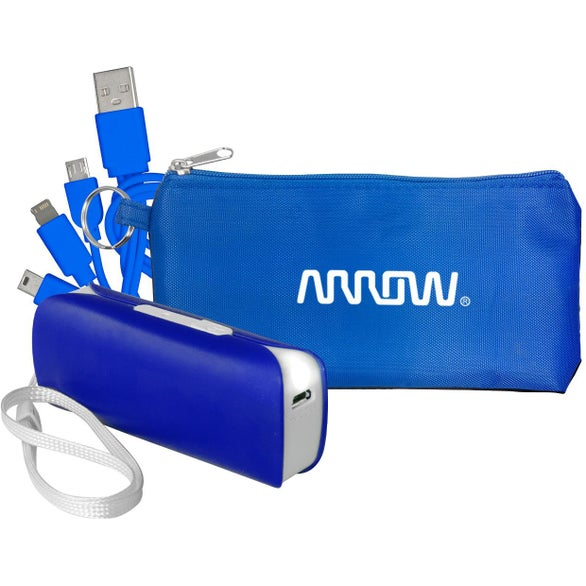 Blue / Black Power Bank Pouch and Cord Set