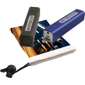 Power Bank with Bluetooth Speaker in Drawstring Bag (2200 mAh)