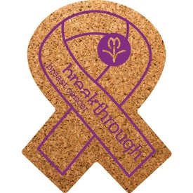 "Awareness Ribbon Cork Coaster (3.5"" x 4.5"" x 0.125"")"