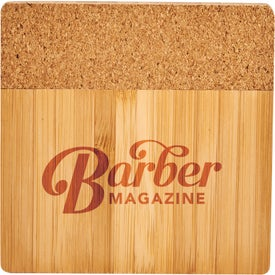 "Bamboo and Cork Coaster Four Piece Set (0.35"" x 3.74"" x 3.74"")"