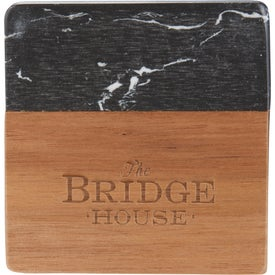 "Black Marble and Wood Coaster Set (0.39"" x 3.94"" x 3.94"")"