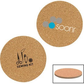 "Cork and Fireboard Round Beverage Coaster (0.25"" x 3.75"")"