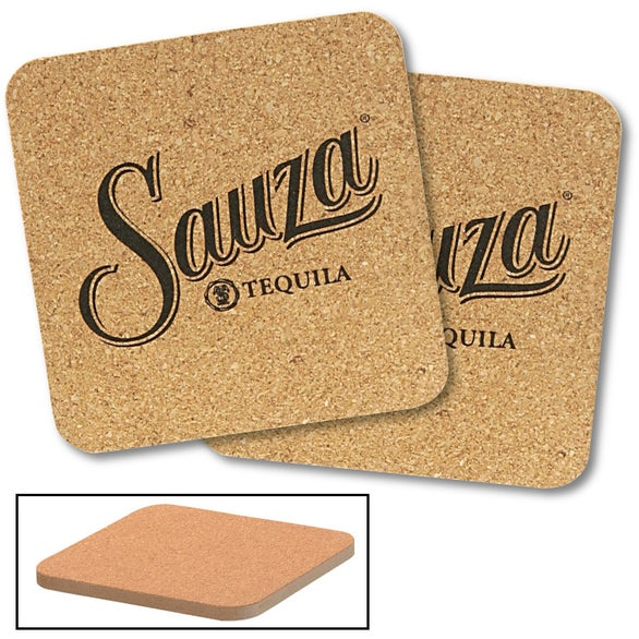 Cork Cork and Fireboard Square Beverage Coaster