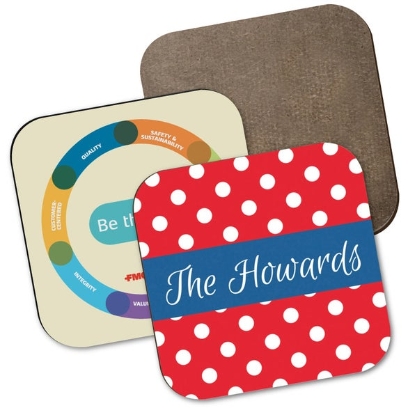 Full Color Imprint Hardboard Square Coaster with Full Color Sublimation