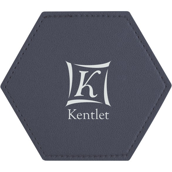 Navy Blue Leatherette Coaster