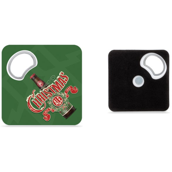 White Magnetic Coaster with Bottle Opener