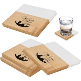 "Marble And Bamboo Coaster Set (4"" x 4"")"