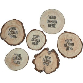 "Natural Wooden Coasters (3.5"" x 3.5"" x 0.375"")"