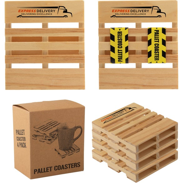 Natural Pine Wood Pallet Coaster 4 Pack