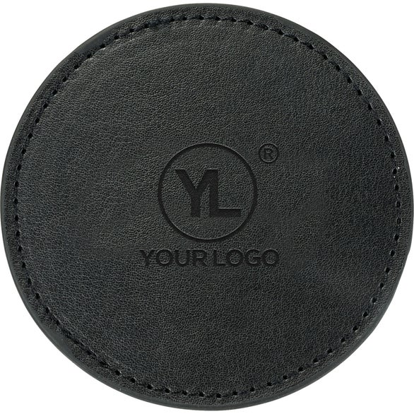 Black Premier Leather Coaster Set