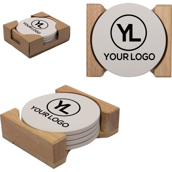 Promotional round absorbent stone coaster sets with custom logo for ea - Stone absorbent coasters ...
