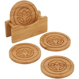 "Round Bamboo Coaster Set with Holder (2.36"" x 5.24"" x 0.31"")"