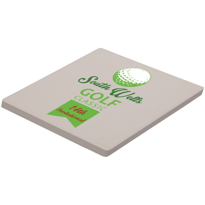 Square absorbent stone coaster imprinted with your logo - Stone absorbent coasters ...