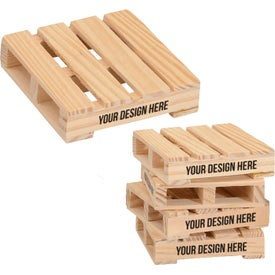 "3"" Square Mini Pallet Wood Coaster"