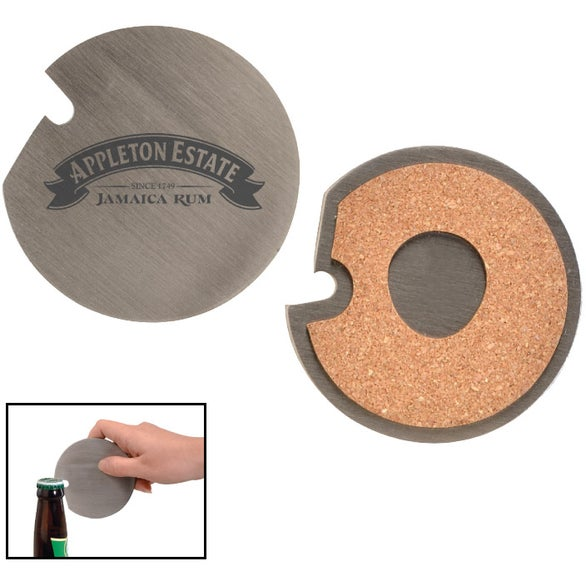 Silver Stainless Steel Coaster with Cork Base and Bottle Opener