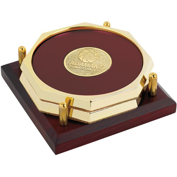 Burgundy Two Octagon Coasters with Solid Cherry Tray