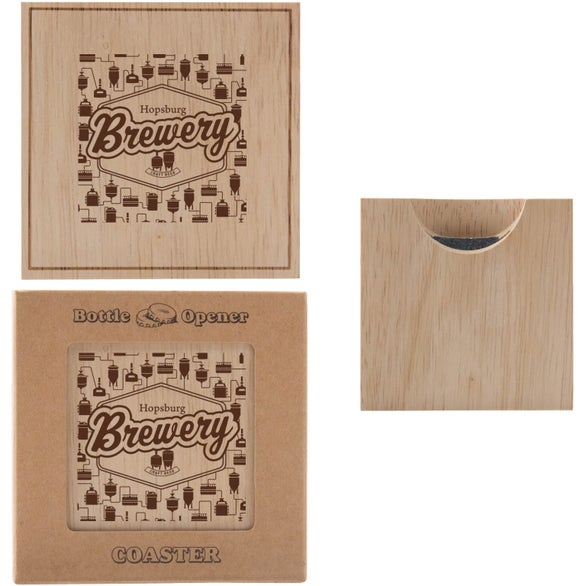 Wood Wood Bottle Opener Coaster