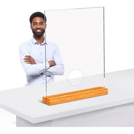 Clear Acrylic And Wood Table Top Sneeze Guards