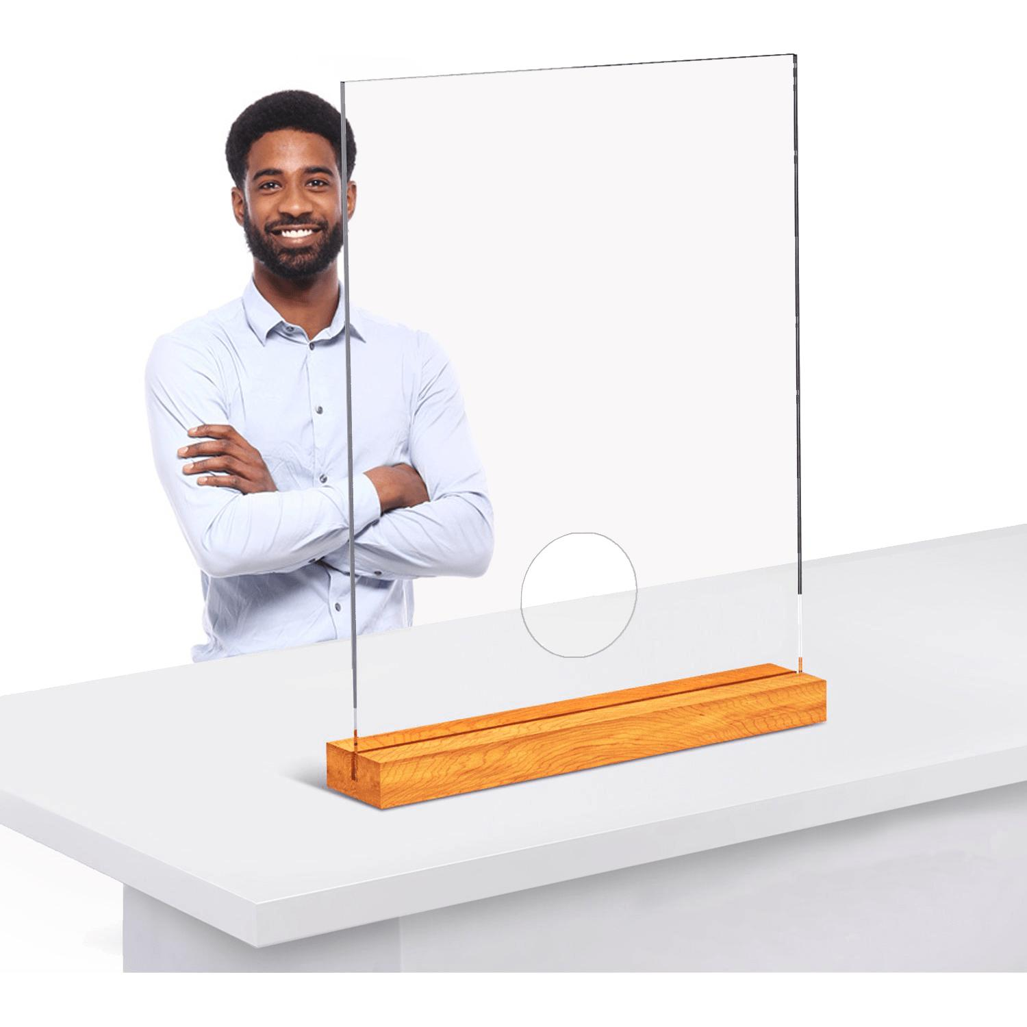 Picture of: Promo Clear Acrylic Table Top Sneeze Guard With Wood Bases Personal Protection Distancing Barriers