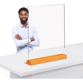 Clear Acrylic Table Top Sneeze Guards with Wood Base