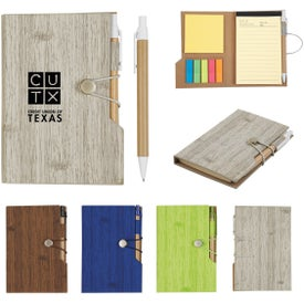 Woodgrain Look Notebook with Sticky Notes and Flags (35 Sheets)