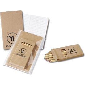 Eco Mini Notebook and 6-Color Pencil Set