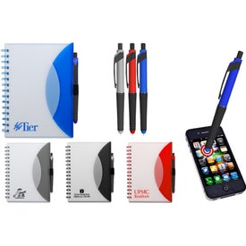 Medium Flexible Notebook and Stylus Imprinted with Your Logo