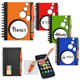 Mini Spotlight Notebook and Stylus Pen with Sticky Notes Printed with Your Logo
