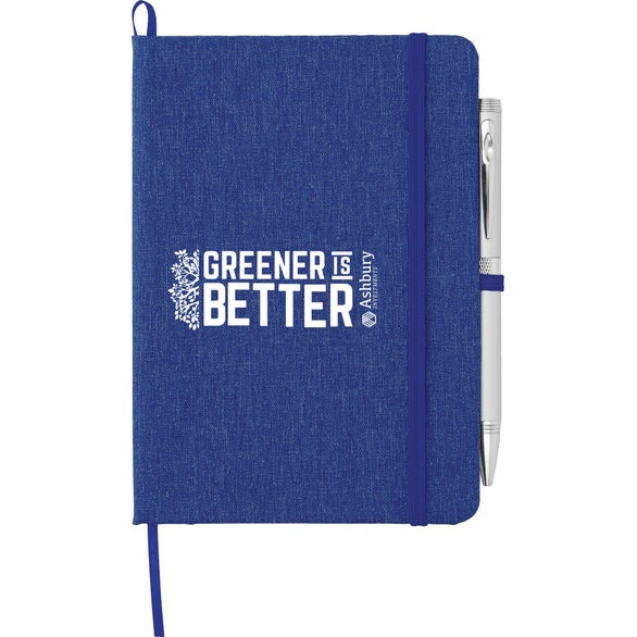 Blue Recycled Cotton Bound Notebook
