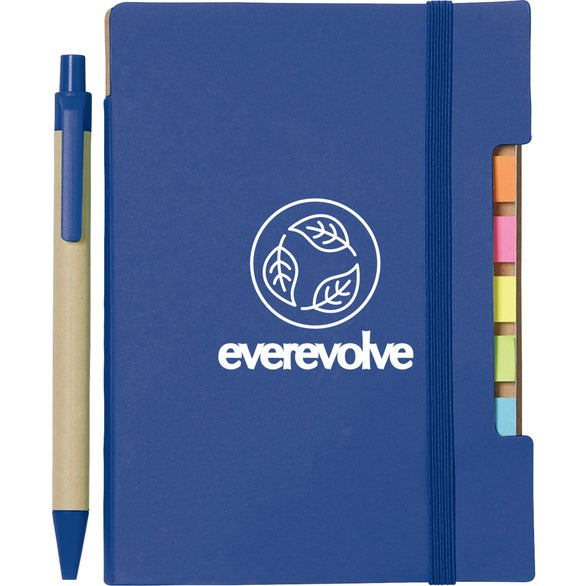 Blue Recycled Sticky Notebook with Pen