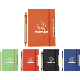 Recycled Sticky Notebook with Pen (35 Sheets)