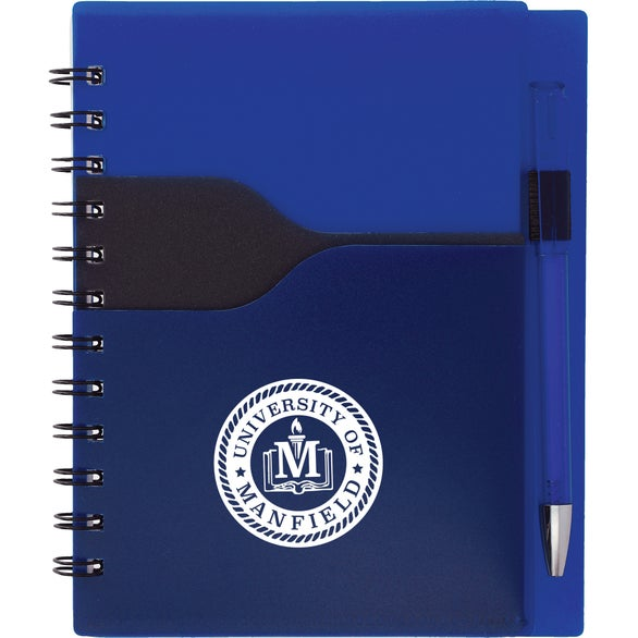 Royal Blue / Black Valley Spiral Notebook with Pen