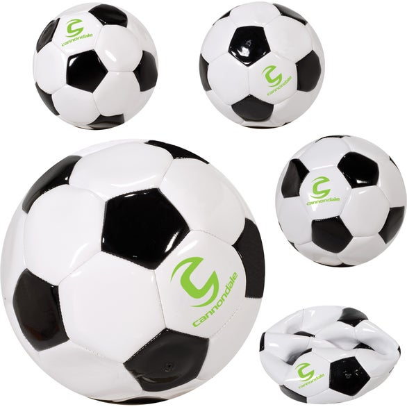 White / Black Full Size Promotional Soccer Ball