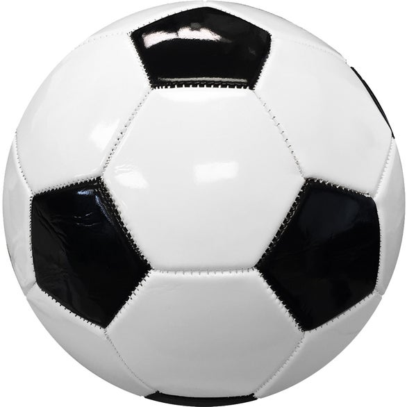 White / Black Full Size Synthetic Leather Soccer Ball