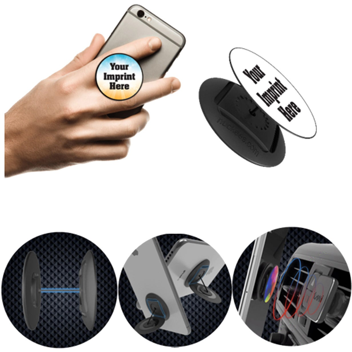 Nuckees Smartphone Grip Stand with Snug-Hug Tech