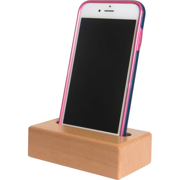 Brown Wooden Block Phone Holder