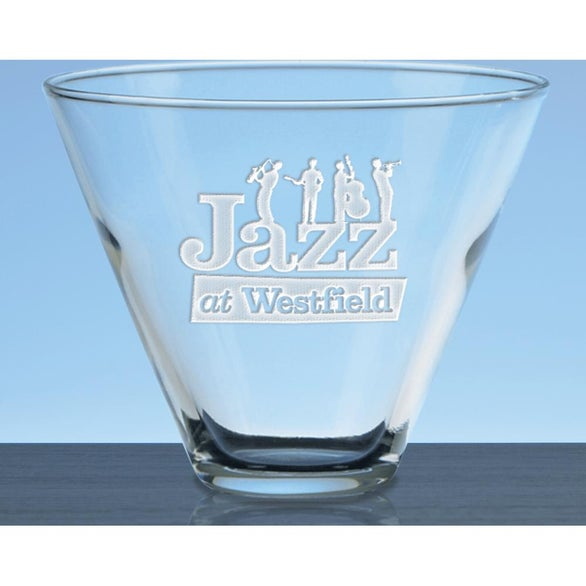 Clear Deep Etched Stemless Martini Glass