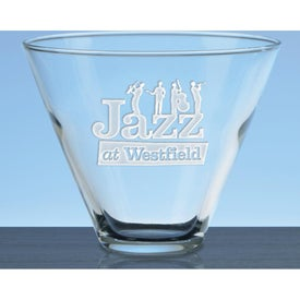 Deep Etched Stemless Martini Glasses (13.5 Oz.)
