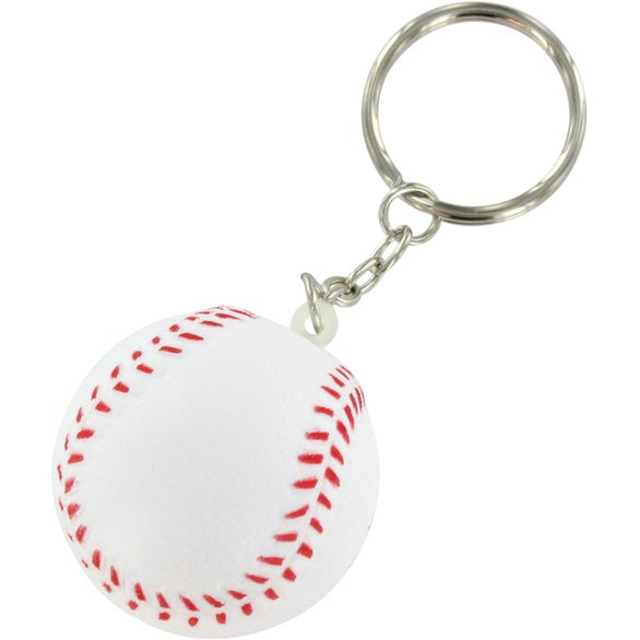 White / Red Baseball Key Chain Stress Ball