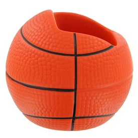 Imprinted Basketball Cell Phone Holder Stress Toy